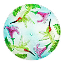 Load image into Gallery viewer, Solar Bird Feeder with Handpainted Embossed Glass, Busy Hummingbird