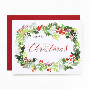 Holly Wreath Watercolor Holiday Greeting Cards