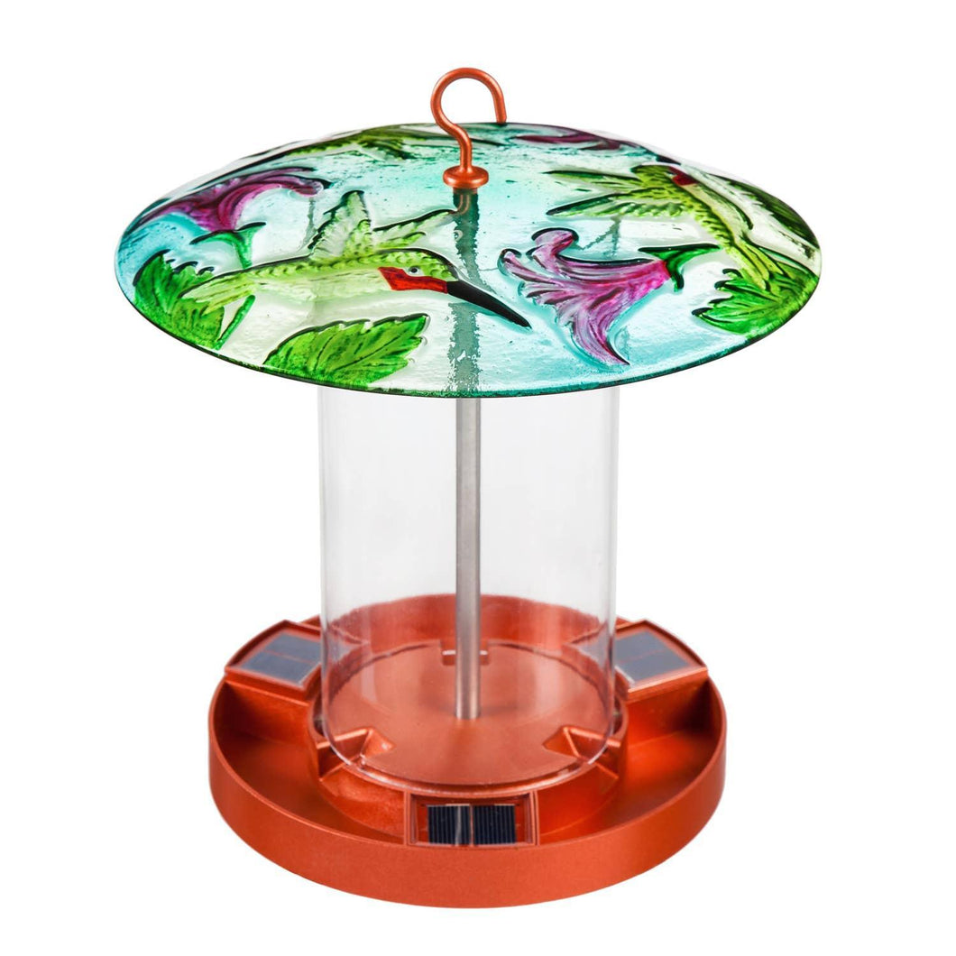 Solar Bird Feeder with Handpainted Embossed Glass, Busy Hummingbird