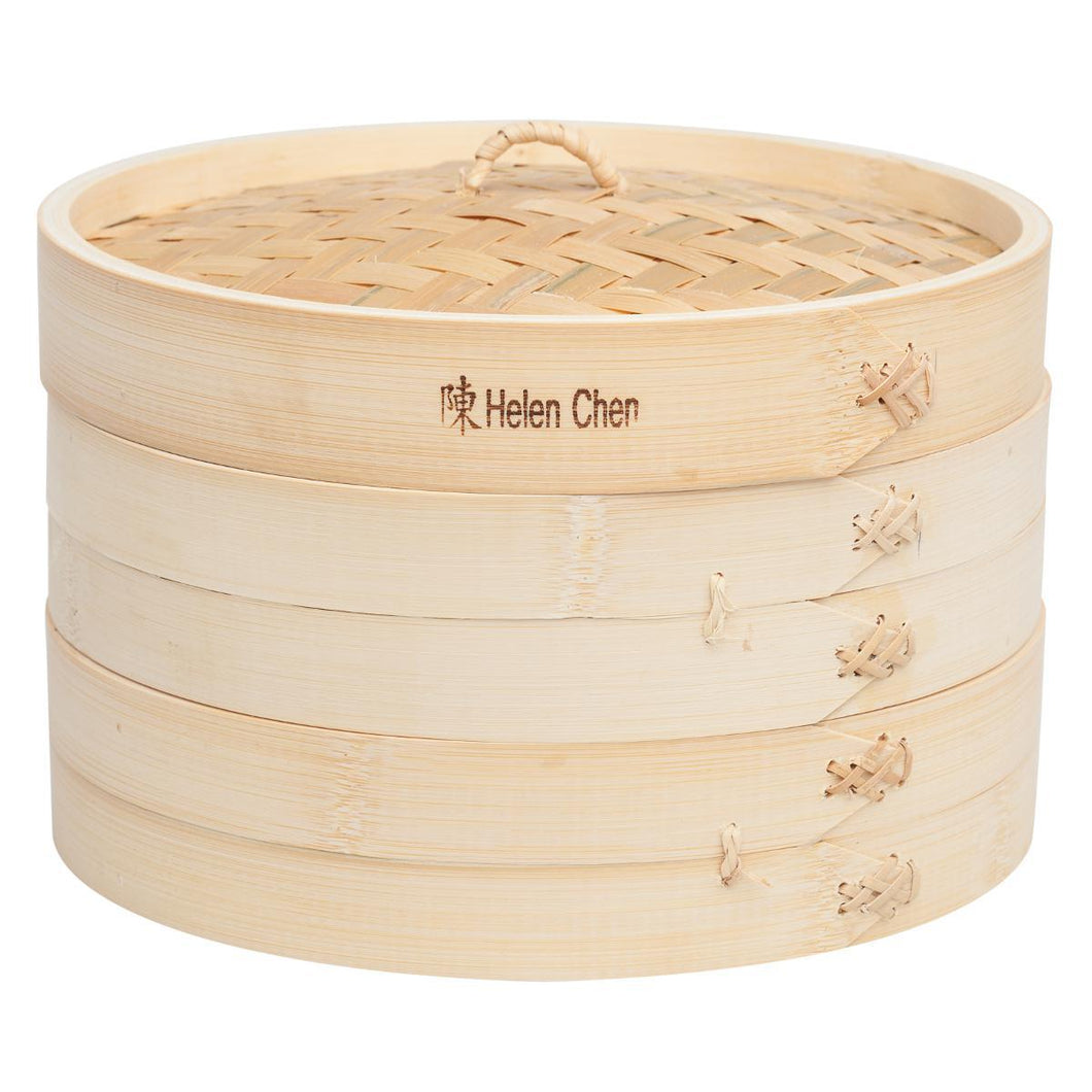 Helen's Asian Kitchen Bamboo Steamer with Lid, Set of 3, 10in