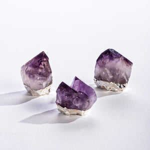 GeoCentral Silver Gilded Natural Standing Amethyst Points