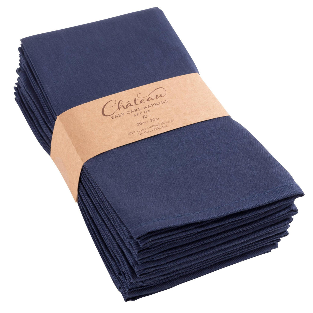 Chateau Easy Care Napkins - Set of 12-Blue