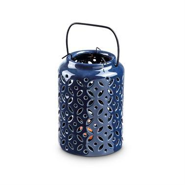 Cobalt Blue Leaf Ceramic Lantern
