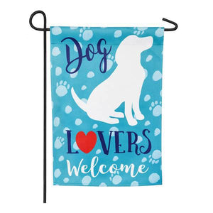 Dog Lovers Welcome Suede Garden Flag