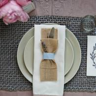 Burlap Silverware Pockets (Mint Green)