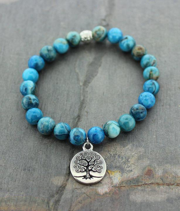 Tree of Life Crazy Lace Agate Mala