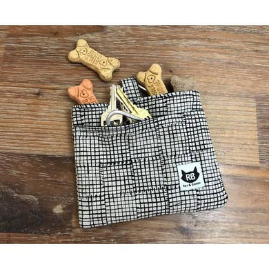 Dog Treat Bag - Mini Grid Linen Cotton