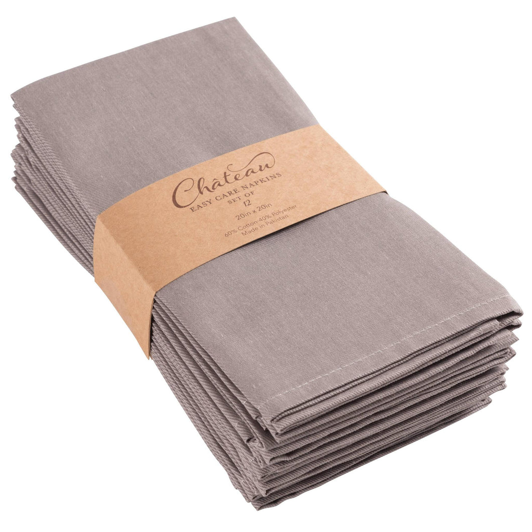 Chateau Easy Care Napkins - Set of 12-Gray