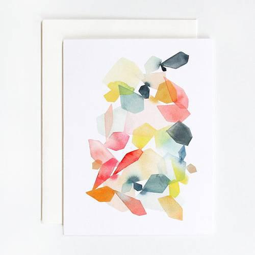 Gems in Coral & Turquoise Watercolor Greeting Cards - Single