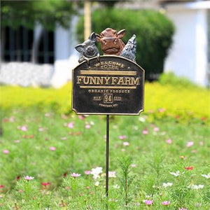 Funny Farm Garden Sign on Stake