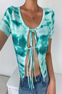 Teal Green Tie-Dye Tie Up Shirt