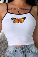 Basic White Butterfly Crop Tank Top
