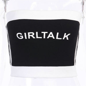 Black and White Girl Talk Tube Top