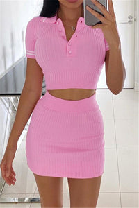Soft Pink Sweater Skirt Set