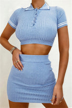 Load image into Gallery viewer, Soft Blue Sweater Skirt Set