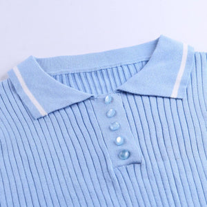 Soft Blue Sweater Skirt Set