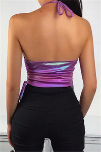Purple Holographic Laser Chain Top