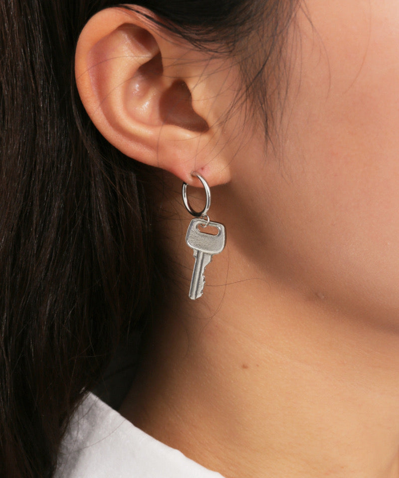 Silver Key To Your Heart Ear Ring Set