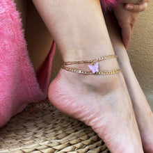Load image into Gallery viewer, 2 Piece Pink and Gold Butterfly Anklet Set