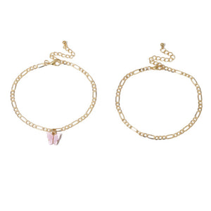 2 Piece Pink and Gold Butterfly Anklet Set