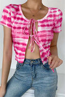 Sexy Pink Tie Dye Tie Up Shirt