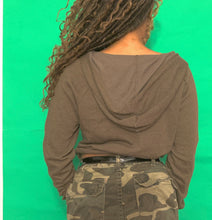 Load image into Gallery viewer, Olive Cropped Drawstring Hoodie
