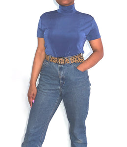 Slinky Blue Short Sleeve Turtleneck