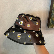 Load image into Gallery viewer, Black Mesh Daisy Print Bucket Hat