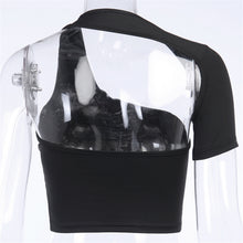 Load image into Gallery viewer, Black Cut-Out Shoulder Crop Top