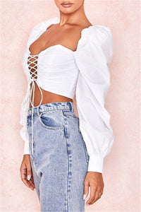 Laced Up White Puffy Sleeve Tie-Up Top