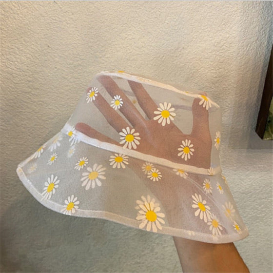 White Mesh Daisy Print Bucket Hat