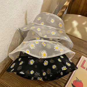 Black Mesh Daisy Print Bucket Hat