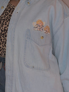 Angel Embroidery Denim Button Up