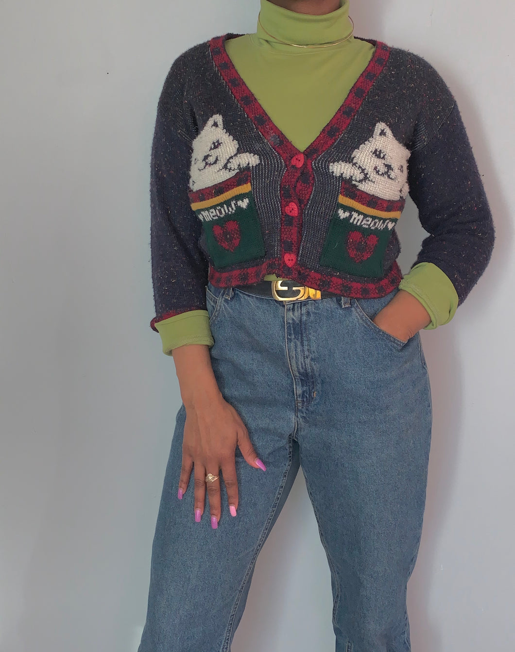 Vintage Wool Kitty Cardigan