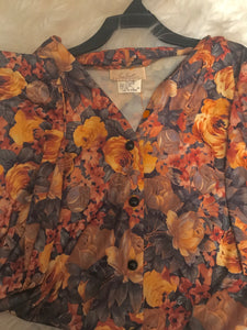Vintage Thrifted Gold Floral Print Top