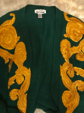 Load image into Gallery viewer, Vintage Green & Gold Oversized Cardigan