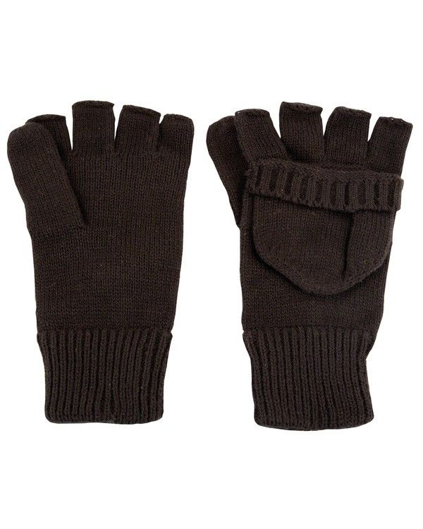 Knitted Shooters Mitts Fingerless Gloves Mittens Hunting Shooting - Black
