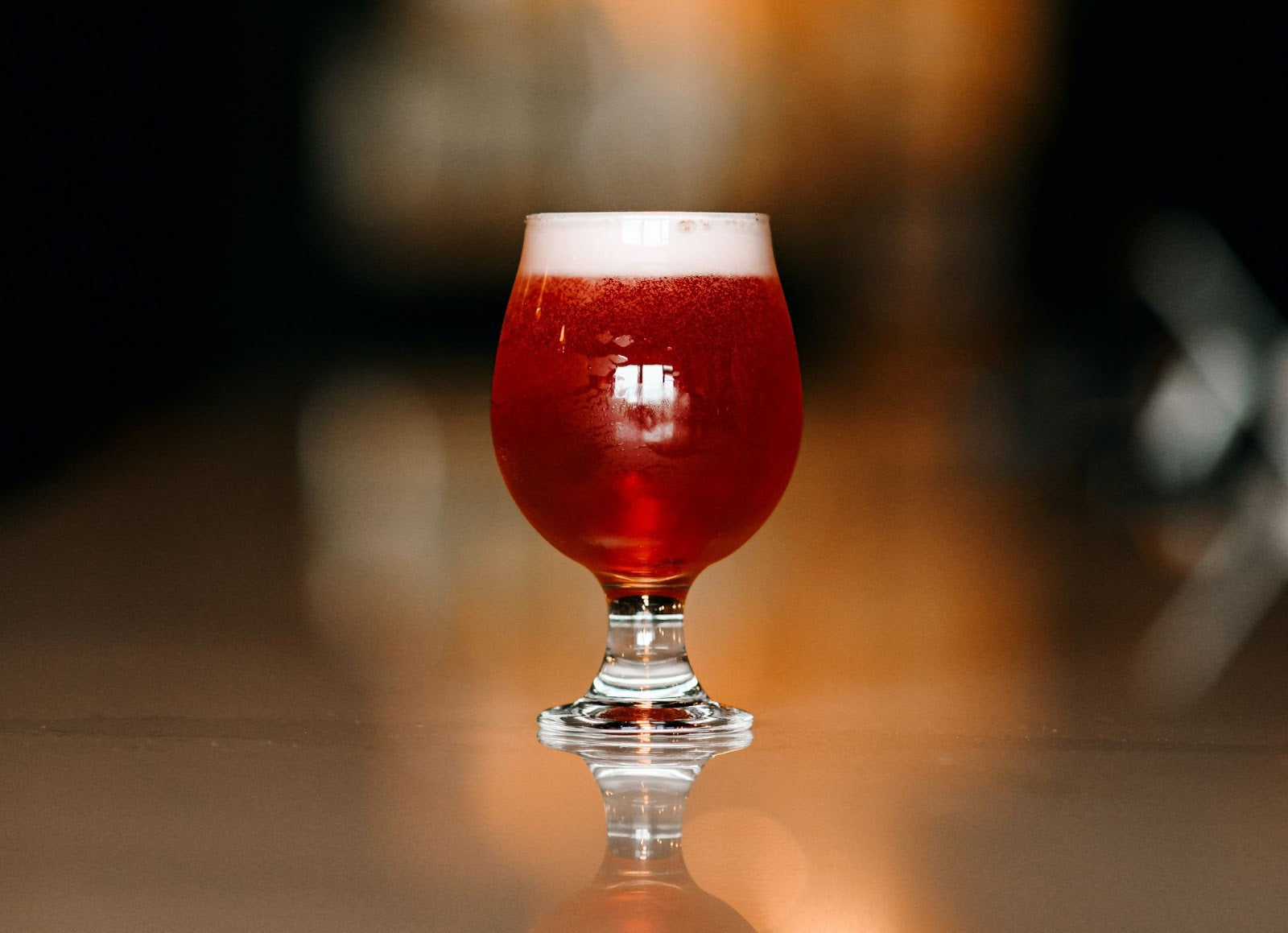 Fruited sour beer in a tulip glass