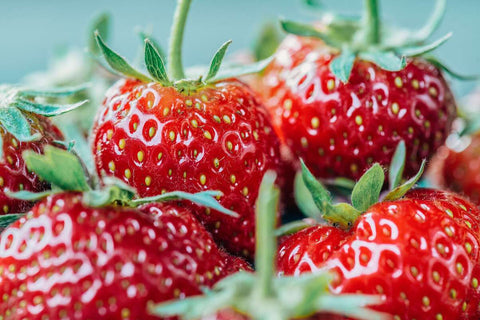 A closeup of juicy, red strawberries