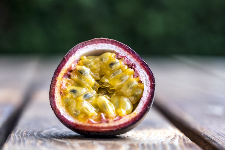 Cross-section of a ripe passion fruit