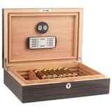 CIGARISM Piano Finish Solid Spanish Cedar Cigar Humidor (Ebony 30 Count)