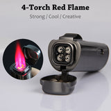 CIGARISM Black 4 Torch Red Jet Flame Cigar Lighter W/Cigar Punch