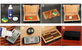 CIGARISM Black Piano Finish Spanish Cedar Lined Cigar Humidor 30 Count