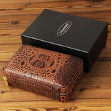 CIGARISM Crocodile Style Genuine Leather Cigar Travel Case Humidor Lighter Cutter Set 4 Count