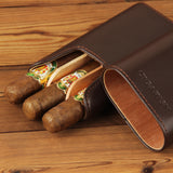 CIGARISM Cedar Lined Travel Holder Leather Cigar Case 3 Count (Coffee W/Barrier)