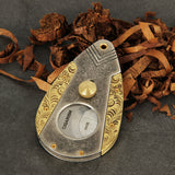 CIGARISM High-end Antique Copper Silver INOX Bronze Carving Sharp Cigar Cutter (Antique Grey)