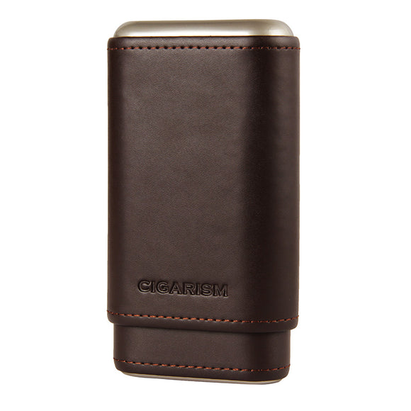 CIGARISM Genuine Leather Cedar Lined Cigar Travel Holder Case 3 Count