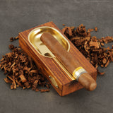 CIGARISM High-end Merbau Golden Copper Lined Cigar Ashtray