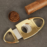 CIGARISM High-end Golden Handle Stainless Steel Dual Blades Cigar Cutter