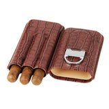 CIGARISM Croco Pattern Genuine Leather Embossed Cigar Travel Case Cutter Set